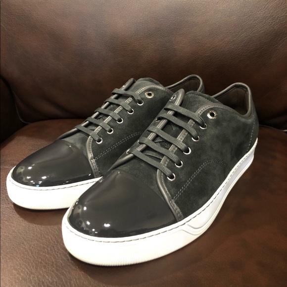 Lanvin Suedepatent Captoe Sneakers